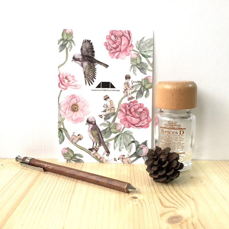 花鳥插畫明信片-富貴白頭躍然紙上系列