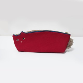 Cat pen case red [MTO] of Kurashiki canvas