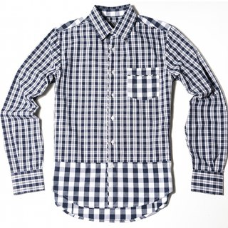 Blue and white squares stitching long-sleeved shirt