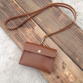 Horizontal identification card. ID card holder, leisure card holder, card holder, hand-stitched, leather caramel coffee
