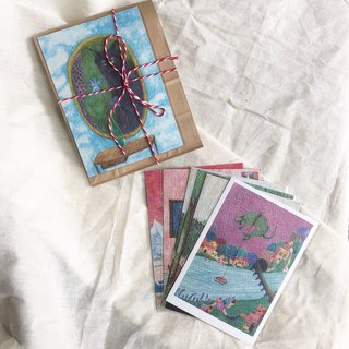 A total of 6 postcard sets - Cosmos Beans illustration Sounds of island series
