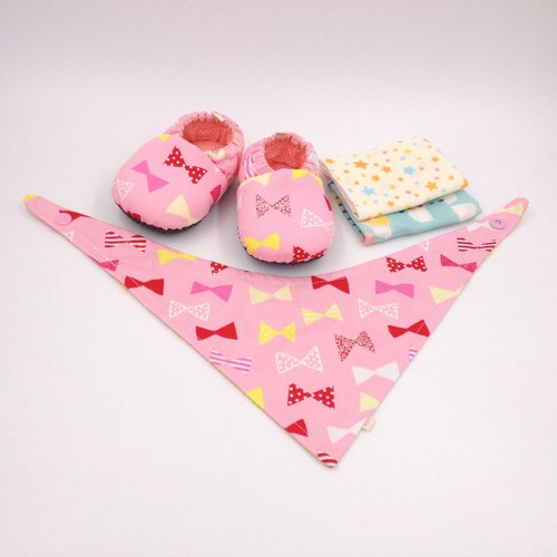 HBS Baby Gift Box - Pink Bow (Toddler Shoes, Handkerchief, Scarf)