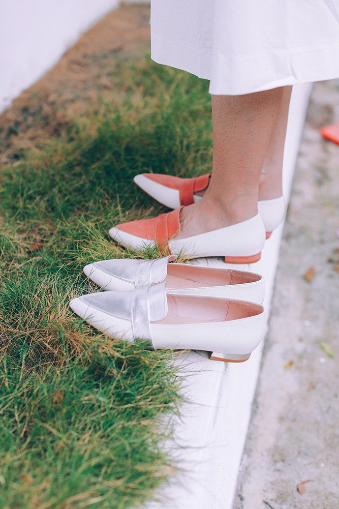 [Zero code clear] perfect fake skinny feet! honey light powder two-color flat shoes silver full leather