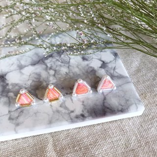 Handmade embroidery / / mysterious triangle earrings - orange bubble / / can be changed clip