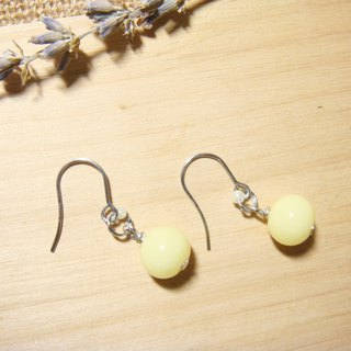 Grapefruit Forest Handmade Glass - Wild Glass Earrings Series - Goose Yellow - (Chang-Jian Clip-Up Type)