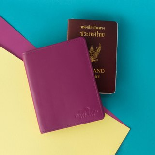 MINIMAL 'ANDA' ITALIAN LEATHER PASSPORT COVER/WALLET FOR TRAVEL LOVER-PURPLE