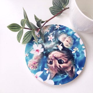 Animal illustration ceramic absorbent coaster [cat]