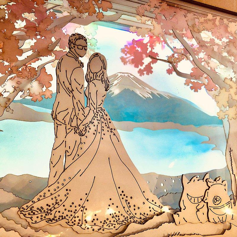 客製化 - | 光影故事 | 紙雕小夜燈 | 人像訂製 | 櫻花 富士山 |