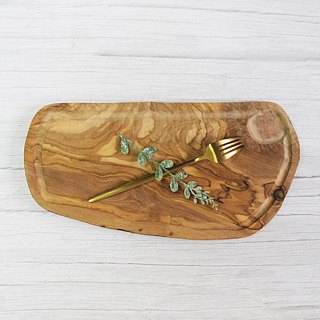 British Naturally Med olive solid wood oval water collecting groove groove cutting board / board / display board