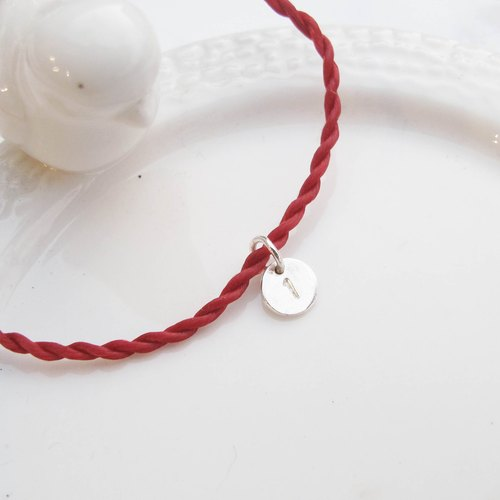 Big staff Taipa [manual creation] small silver card × red line wax rope sterling silver bracelet lucky lucky