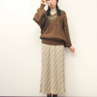 ... {Acorn girl :: ancient sweater} sea pine color small grain V-neck sweater (for men and women)
