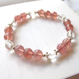 [magnifying glass] strawberry crystal x white crystal - hand-created natural stone series