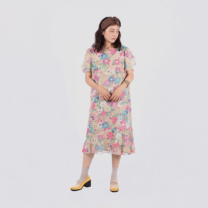 【蛋植物古着】粉彩罌粟印花傘狀古著洋裝