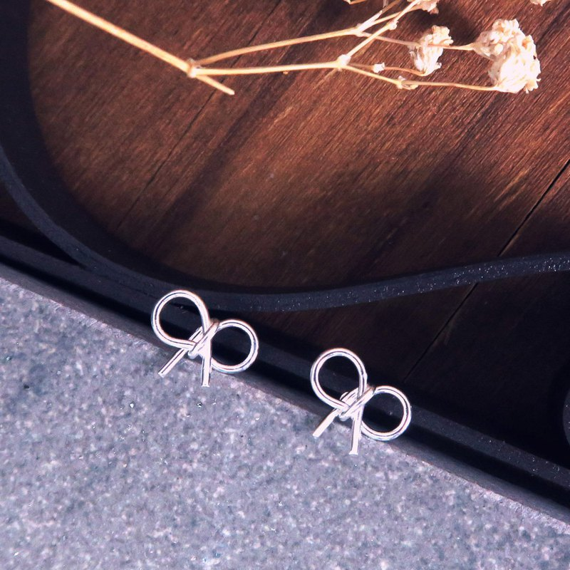 Earrings tied bow 925 sterling silver earrings