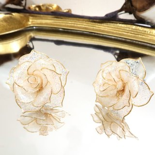 Miss Paranoid Miss Paradigm Star Rose Crystal Flower Resin Earrings (Small Edition)