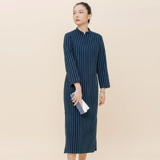 BUFU indigo stripe long sleeves Chinese dress D170810