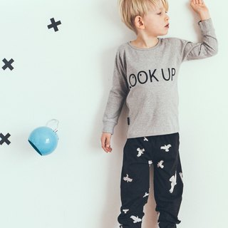 Nordic organic cotton children's clothing eye illustration childlike top Long T-Shirt Lt3 Grey Melange