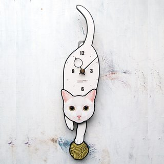 C-63 White cat(Yellow eyes) - Pet's pendulum clock