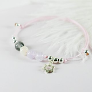 Pink mood natural paraffin rope silver beaded bracelet │ pink white gift