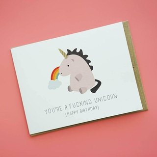 """You're a fucking unicorn"" Birthday Card"