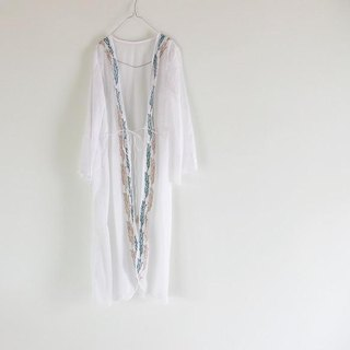 Pin tuck sleeve and hand print cotton long cardigan 【3】
