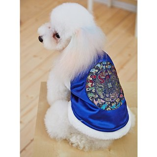 Pet clothes cheongsam modeling Chinese style (blue)