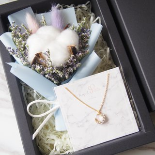 [Warm bouquet gift set]: Mini dry bouquet (pink blue) + [Zircon moon necklace]