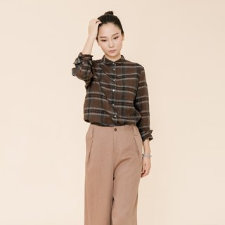 BUFU plaid linen shirt for women SH170607