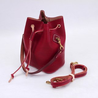 [Cut line] bucket bag pure hand sewing tanned leather leather ladies shoulder bag carved shoulder bag handbag side hand stained red