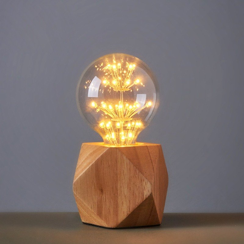 Retro Solid Wood Table Lamp Multi Angle Cutting Diamond Table