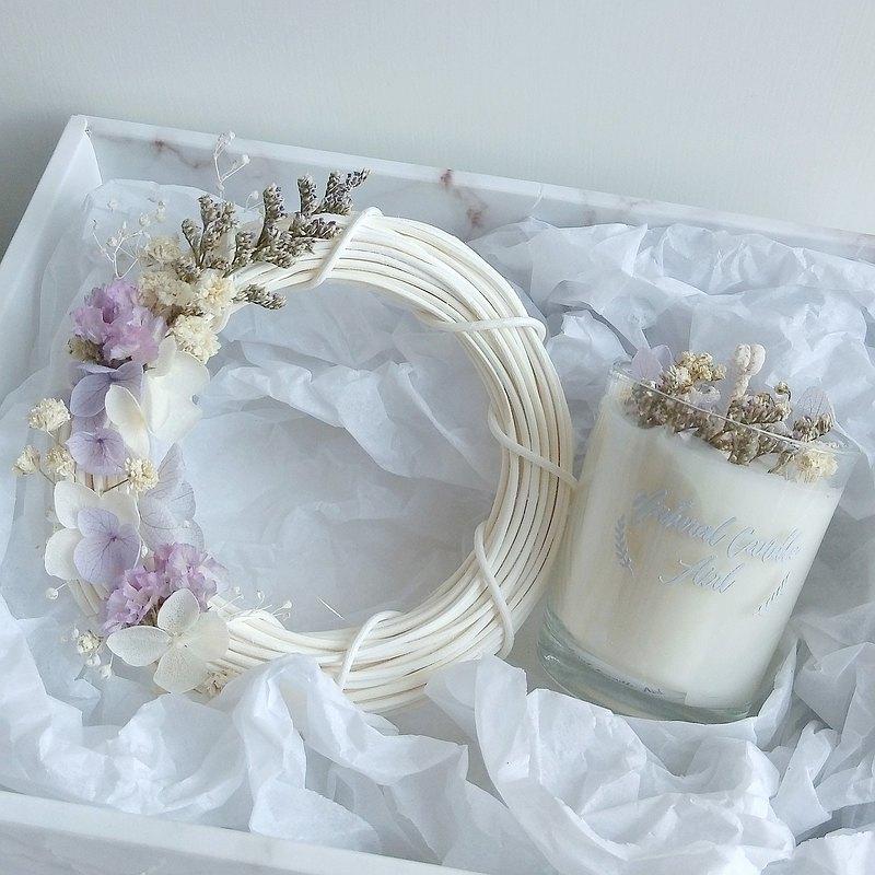 禮盒-花環晶石蠟燭組合 螢石玻璃杯 大豆香氛蠟燭 生日禮物 閏蜜