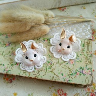 "Garohands retro white brush gold rabbit baby head lace ginkgo flower feel pin F047 ""flaw"" temperament cute"