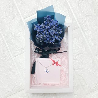 Christmas Box Dry Flower Set Necklace Birthday Gift Moon Blue