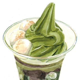 Original Watercolour Painting (A5) - Green Tea Parfait