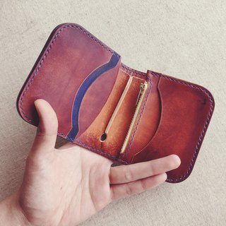 Small short clip wallet Italy imported vegetable tanned leather contrast color dyeing handmade leather design customized