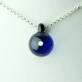 Blue Planet Handmade Lampwork Glass Sterling Silver Necklace