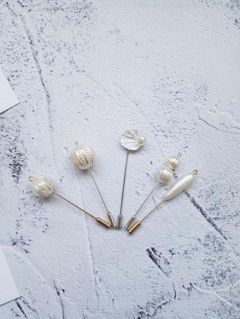 珍珠系列花瓣胸針胸花新郎一字針插針
