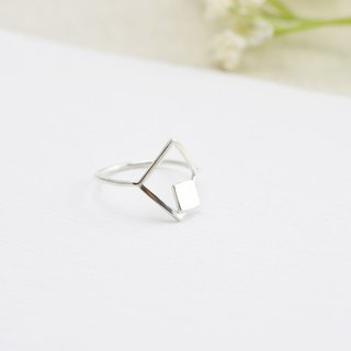 Nude - square double geometry (925 sterling silver ring) - C percent jewelry