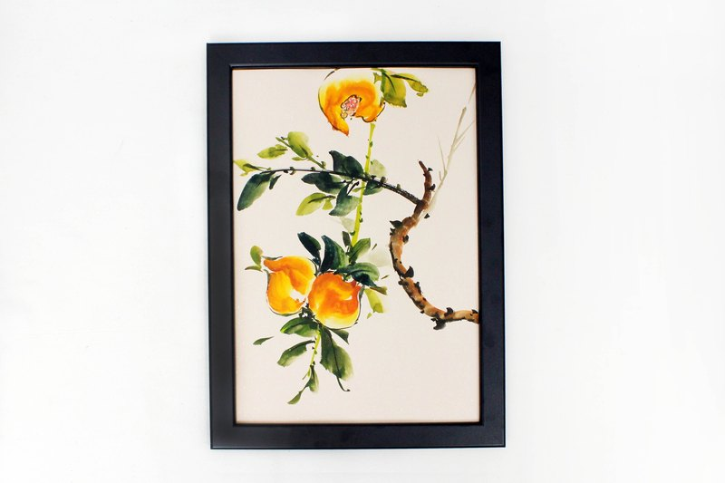 Hand painted painted fruit painting Chinese painting ornaments (with frame)