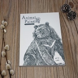 Wild animal illustration lines postcard book