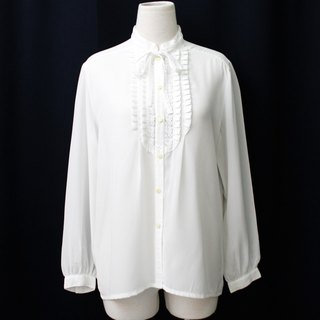 [RE0310T1865] in Japan rose embroidery vintage bow tie collar white shirt