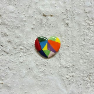 Color heart ceramic pin