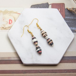 Stripe oval drop earrings