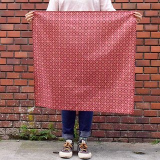 Furoshiki Wrapping Cloth - 70x70 / Begonia Glass Pattern / Pink Peach &Brick Red
