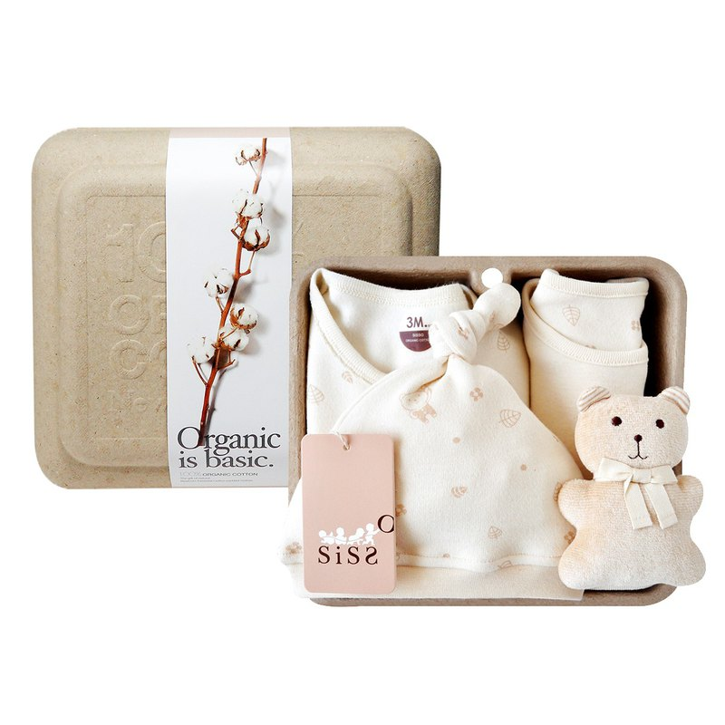 [SISSO organic cotton] small leaves fluttering with rabbits gift box (cafe bear) 3M 6M