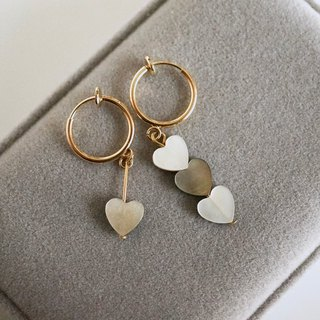 ITS-314 [gold-plated ring earrings, asymmetrical] shell ear clips / ear pins