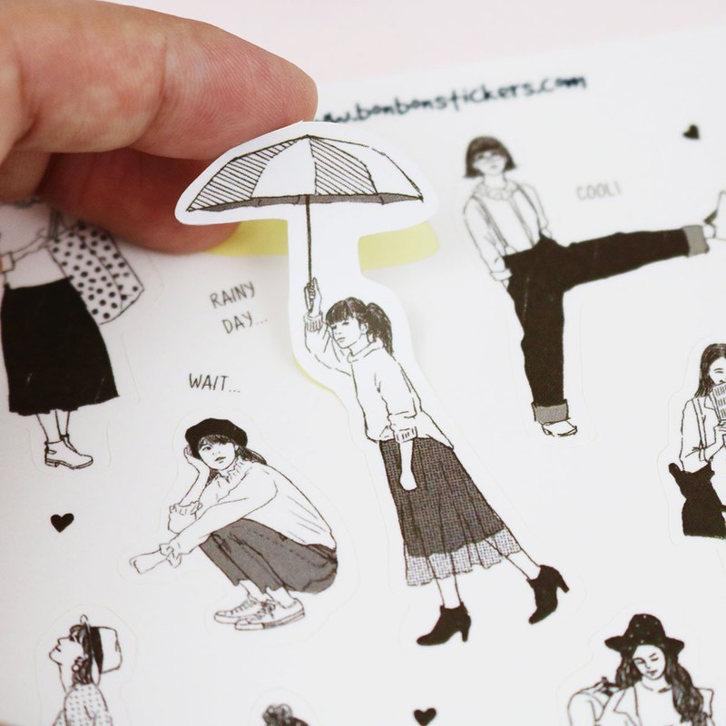 Fog film cut type sticker monochrome girl dark brown