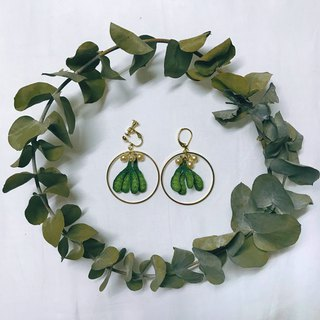 Mistletoe handmade embroidery earrings