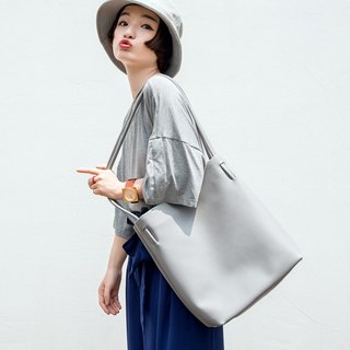 Gray large-capacity leather tote bag shopping bag minimalist wild style practical two-layer leather shopping bag