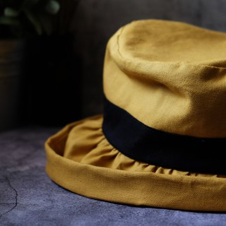 Japanese-style khaki curled double-sided fisherman hat / ginger yellow